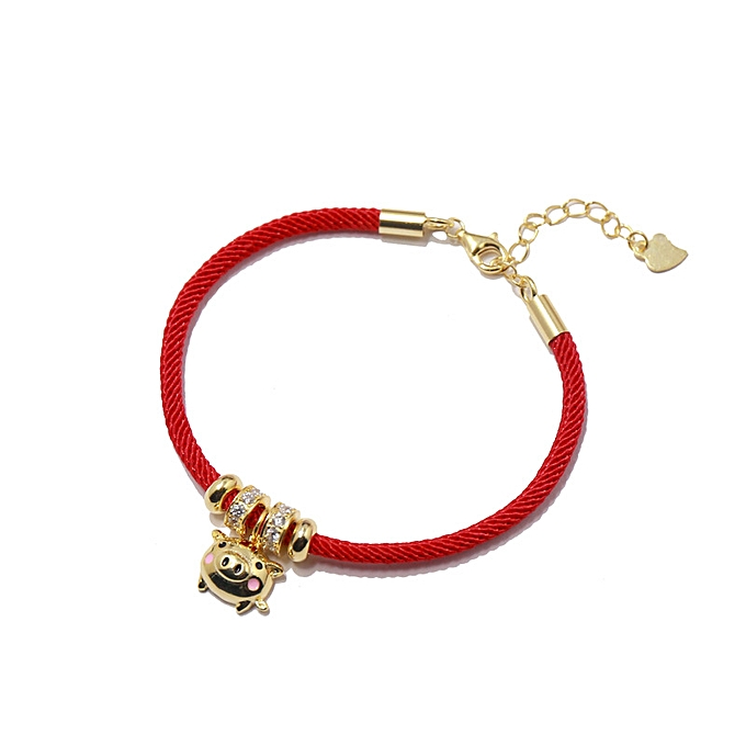 e9abf76b64c40 【The design style S925 silver vogue of 56 】 jewelry independence New Year  little gold pig pearl red rope bracelet