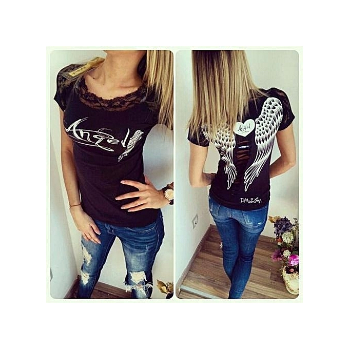 ZANZEA Women Shirt Short Sleeve Lace Wings Print Back Hollow Out Patchwork  Top Tees Plus Size a99f7c8b0