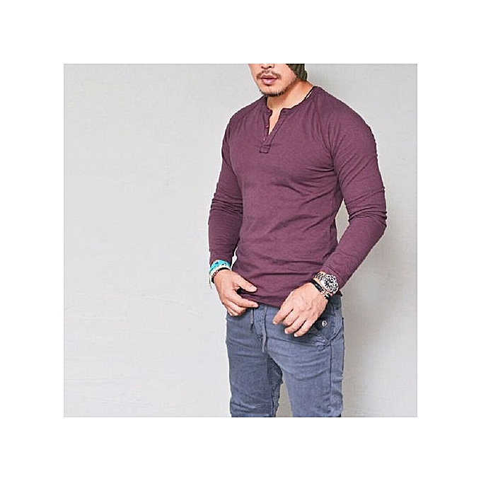 09101c56ce2 bluerdream-Fashion Men s Slim Fit V Neck Long Sleeve Muscle Tee T-shirt  Casual