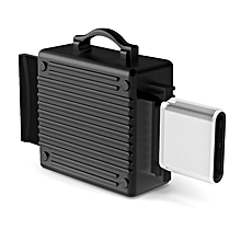 Q24 2 in 1 Toolbox shape Type-C Metal Memory Card Reader, Support TF Card(Black)