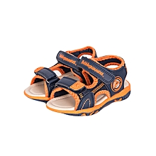 Navy/orange Velcro Straps Boys Open Shoes