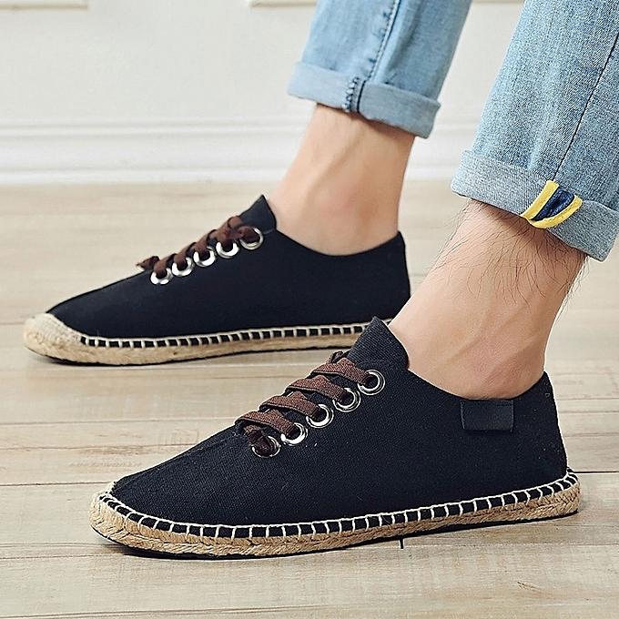 c255af4c2896 EUR 39-45 New Men Canvas Shoes Fashion Comfortable Casual Shoes Men Lace-up  Loafers Shoes Black