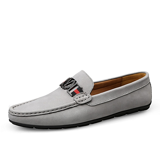 Buy Tauntte Cow Leather Loafers Men Shoes Casual Moccasins Grey