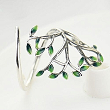 Green Epoxy Tree 925 Sterling Silver Ring