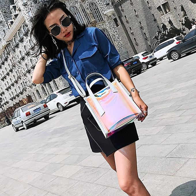 1d8cad2fd9 Women Transparent Laser Bag Shopper Hologram PVC Totes Crossbody Shoulder  Bag Handbag