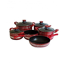 8 Piece - Non Stick Cooking Pots - Maroon