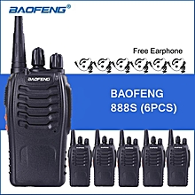 6PCS Baofeng 888S Walkie Talkie 5W 1500mah BF-888S Two-Way Radio