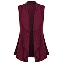 jiuhap store Women Casual Sleeveless Cape Shawl Ruffles Draped Open Front Cardigan Vest Coat-Red