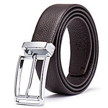 Men's Leather Belts Metal Automatic Buckles Strap(BROWN)
