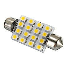 42MM C5W 3528 LED 16 SMD Dome Interior Festoon Bulb Reading Lights Warm White
