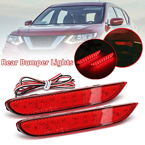 2 Red Len LED Rear Bumper Brake Fog Light For Nissan X-trail Rouge Qashqai  14~17