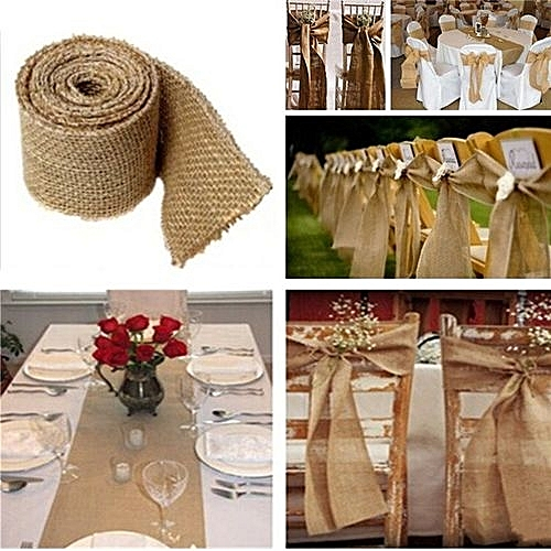 Buy Universal 1pcs 3m Natural Burlap Ribbon Rustic Wedding