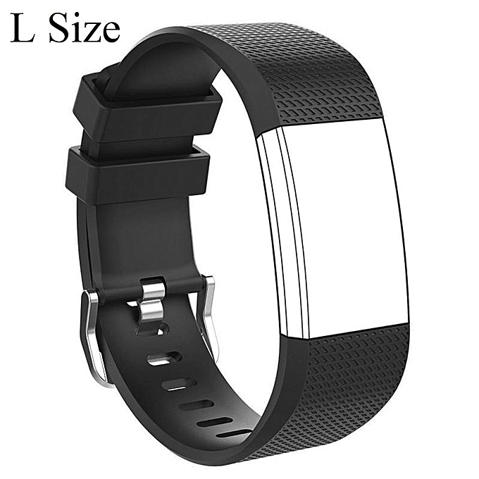 Large Size Silicone Sports Watch Band Strap Replacement Bracelet For  Fit-bit Charge 2 (Black