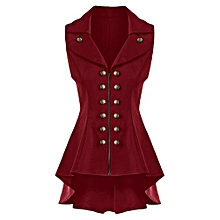 Women Double Breast Lapel High Low Dressy Waistcoat - Red