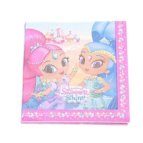 Shimmer And Shine Birthday Party Decoration Kids Children Bag Napkins Disposable Tableware Set Supplies FavorNapkins 20pcs