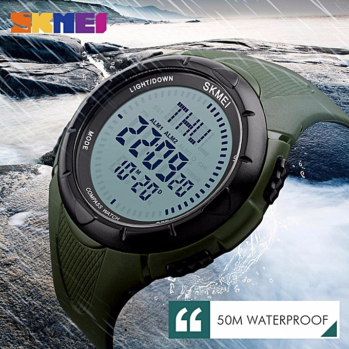 78db40a4649 ... 2017 SKMEI 1232 Men Digital Wristwatches Compass World Time EL Light  Watches Repeater Countdown Alarm Sport ...