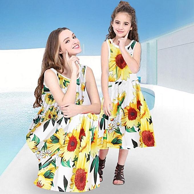 Mother and Daughter Matching Dress Sunflower Prints Kids Summer Sleeveless  Dresses c7d18362ea