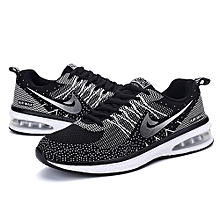 Men Light-Weight Running Sneakers - Black+White