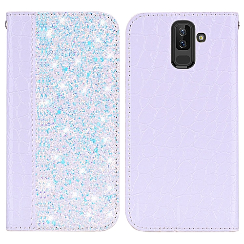 Galaxy A6+ 2018 Case,Luxury Glitter Shiny Sequins Case Crocodile Pattern PU  Leather Magnetic Flip Stand Shockproof Protective Cover for Samsung Galaxy