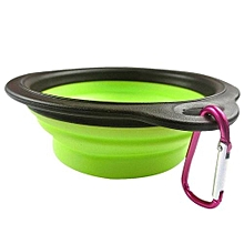 Dog Cat Pet Silicone Collapsible Travel Feeding Bowl Water Dish Feeder GN-Green