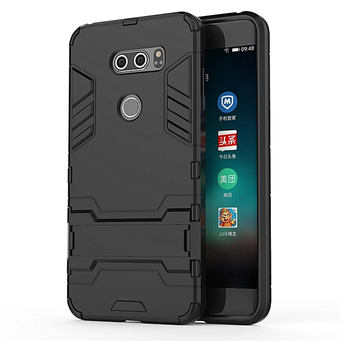 buy online 77fe6 dc140 TPU and PC 2 in 1 phone Case cover with Kickstand Rugged Armor Back Case  cover for LG V30 -Black