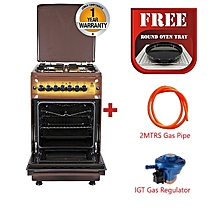 Standing Cooker, 4 Gas Burners, Electric Oven - MST55PI4GDB/HC - Brown + Free Tray + 2M gas Regulator + 13KG Gas Regulator