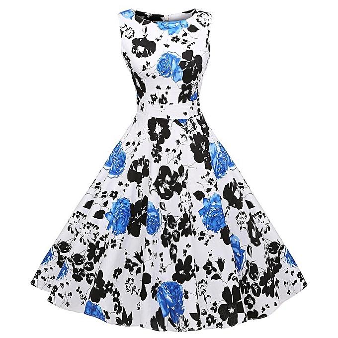 0d7c4217fdc8 ACEVOG Vintage 1950 s Floral Spring Garden Party Picnic Dress Party  Cocktail Dress