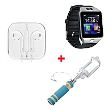 DZ09 Smart Watch Phone With Earphone And Selfie Stick -  Silver Black