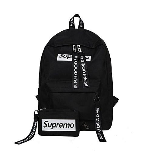 Uj Large Capacity Women Canvas Backpack Casual Solid Teenage Girls School Bag Black