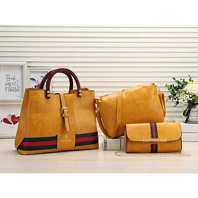 b9d98be0a8e Yellow 3-in-1 Fashionable Ladies Handbags