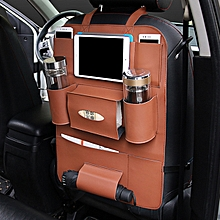 Multi-functional PU Leather Car Back Seat Storage Bag Multi Pocket Phone Cup Holder Organizer -