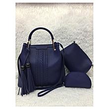3 In 1Tassel Panelled Shoulder Handbag - Dark Blue
