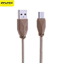 CL - 982 1M Universal Nylon Braided Micro USB Data Wire - Tyrant Gold