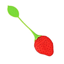 Blue Lans Silicone Strawberry Design Loose Tea Leaf Filter (Green/Red)