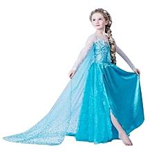 Girl Fairy Elsa Snow Queen Long Dress -Blue