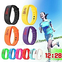 Women Men Silicone Band Strap Digital LED Display Bracelet Wrist Sports Watch-Red