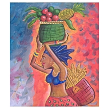 African wall painting - 40 by 49cms - multicolor