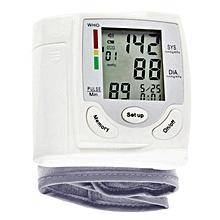 Wrist Portable Digital Automatic Blood Pressure Monitor - White.