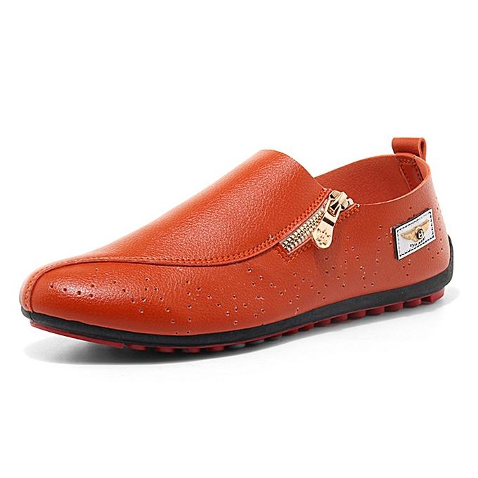 Fashion Men Casual Soft Sole Side Zipper Leather Flat Loafers   Best ... d96e51e19c3