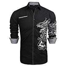 Men Casual Dragon Printing Long Sleeve Button Down Shirts