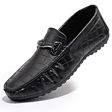Men's Leather Driving Shoes Slip On Loafers Casual Shoes Moccasins Boat Shoes Black