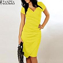 ZANZEA Sheath Dress Women V Neck Short Sleeve Solid Slim Knee-Length Dress