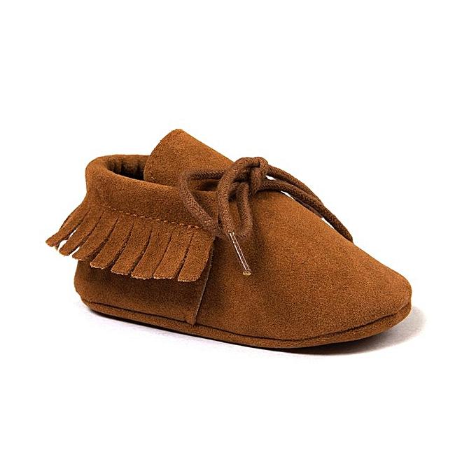 600c6a46904f6 1210 Toddler Baby Moccasins Tassels Soft Sole Non-Slip Prewalker Shoes dark  brown