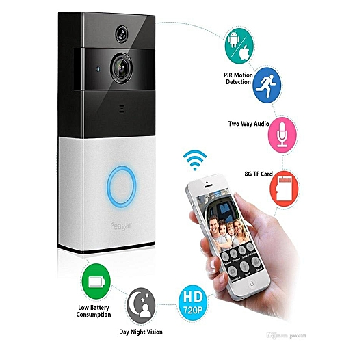 Wireless Smart Video Doorbell Security Camera with PIR Motion Detection App  Control for iOS & Android