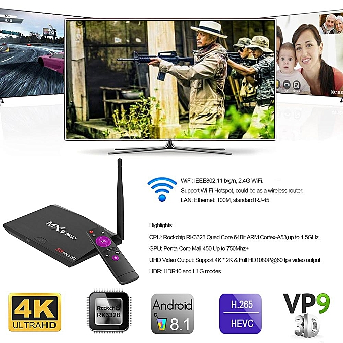 MX9 Pro Android 8 1 TV Bo x RK3328 Quad Core 64Bit 2G + 16G H 265 UHD 4K  VP9 HDR 3D Mini PC WiFi Bluetooth 4 0 EU Plug (Black) BYX-A