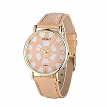 Fohting Fashion Women's Date Geneva Stainless Steel Leather Analog Quartz Wrist Watch -Khaki
