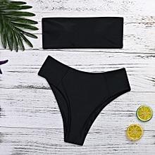 Women Bikini  Set Strapless Swimsuit High Leg Beach Suit