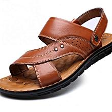 Brown Full Grain Leather Shoes Men Waterproof Beach Shoes Flip Flops/ sandals