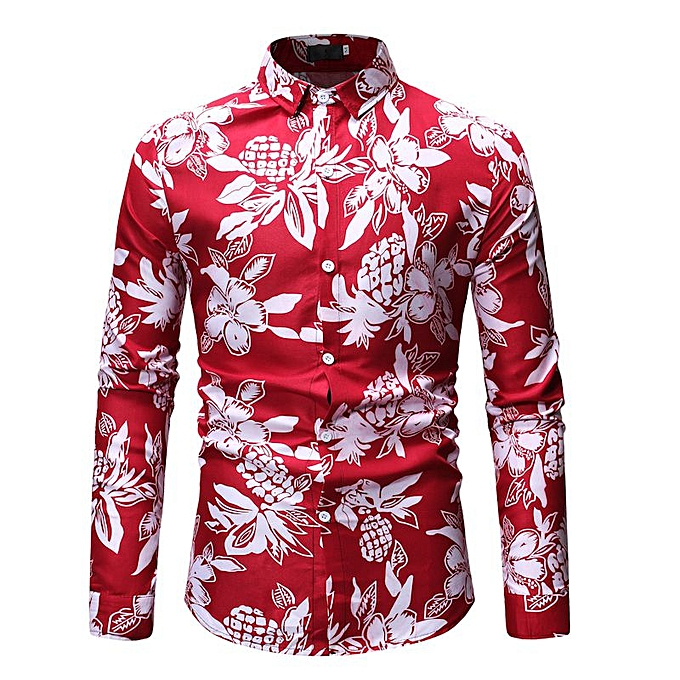 8eeb1307b77 Fashion Vacation Party Print Long Sleeve Hawaiian Flower Shirt Red ...