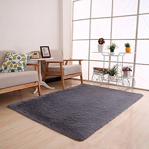 Skywolfeye Fluffy Rugs Anti Skid Shaggy Area Rug Dining Home Bedroom Carpet Floor Mat Gray